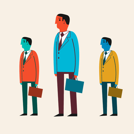 mid century: Vector illustration of a cartoon businessman. Handsome active businessman carrying a briefcase. Flat design. Mid-century retro style.