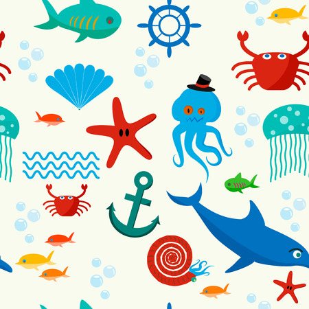 Cute collection of cartoon sea animals characters for children dormitory wallpaper decorative tileable abstract seamless vector illustration. Flat design. Vector