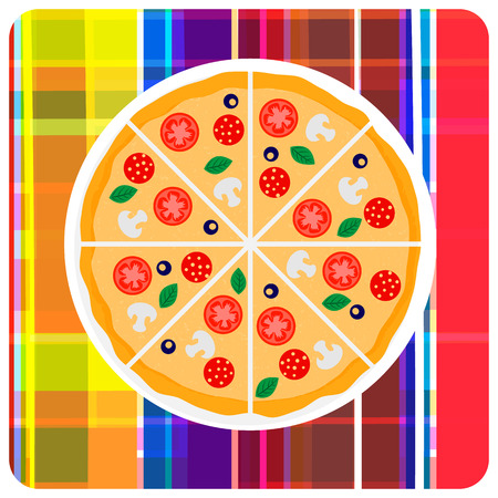 Tasty italian pizza with tomato, sausage or salami, olive and mushrooms on the plaid. Vector clip art illustration. Design element. Vector
