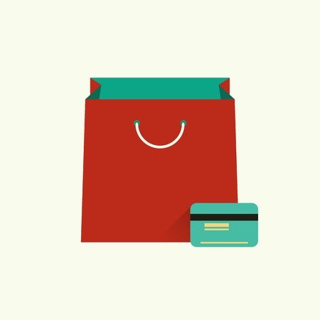 shopping bag icon: Vector illustration of red bag  for shopping and credit or debit plastic card. Shopping concept. Flat design style. Infographic element