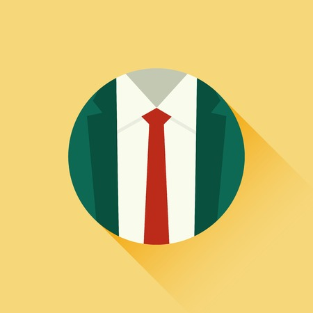 formal clothing: Vector illustration of suit and red tie. Formal suit. Male clothing suit. Business concept. Flat design style