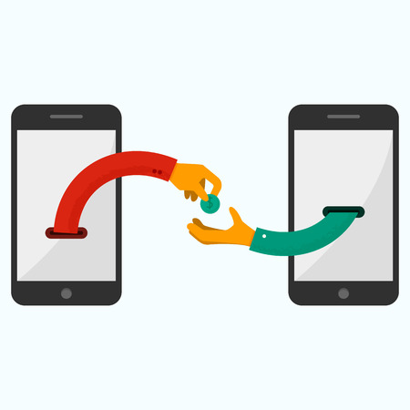 dinero: Mano que da el dinero a otra parte. Banca por Internet y pagos m�viles usando smartphone, dinero en efectivo y cerca de la tecnolog�a de comunicaci�n de campo, la banca en l�nea. M�todos de pagos. Ilustraci�n vectorial Flat