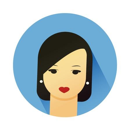 ragazza giovane bella: Illustrazione ritratto della bella ragazza con stile capelli carino. Piatto disegno vettoriale.