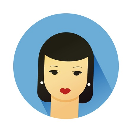 userpic: Vector illustration portrait of beautiful young girl with cute hair style. Flat design vector.