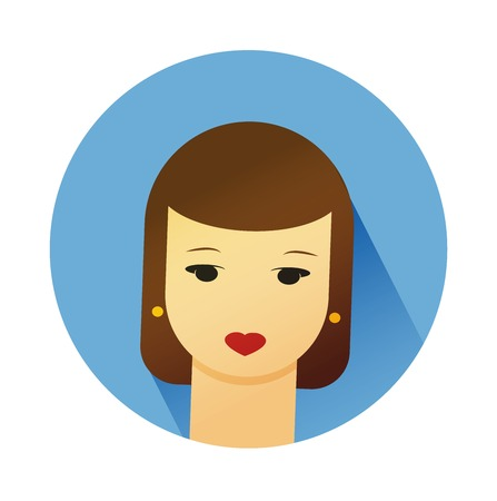 brown haired girl: Vector illustration portrait of beautiful young girl with cute hair style. Flat design vector.