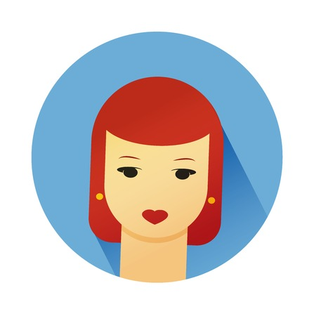 hairdress: Vector illustration portrait of beautiful young girl with cute hair style. Flat design vector.