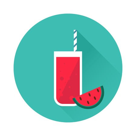 watermelon juice: Watermelon juice vector icon. Menu element for cafe or restaurant with energetic fresh drink. Trendy flat design style. For web and print design