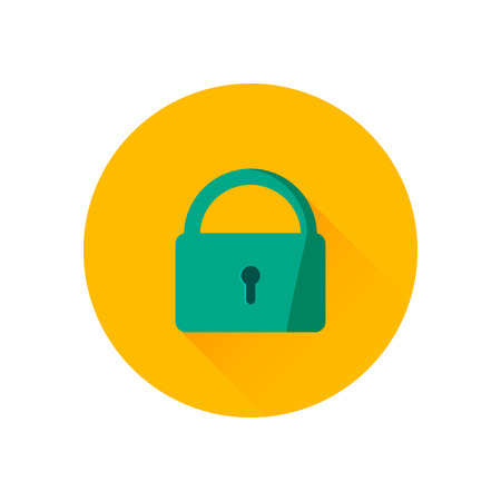 Vector lock icon. Trendy flat design style with long shadow. Vector element for web design and infographics . For web and print design.