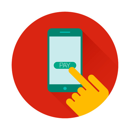 Mobile payments using smartphone, near field communication technology, online banking. NFC technology. Flat design vector Ilustração