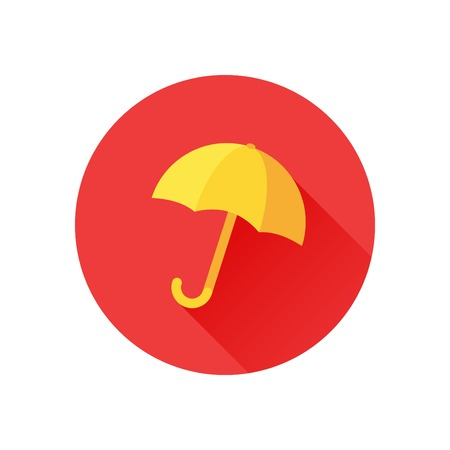 yellow umbrella: Vector icon of yellow umbrella on red background. Rain protection symbol. Trendy flat design style with long shadow. Vector element for web design and infographics