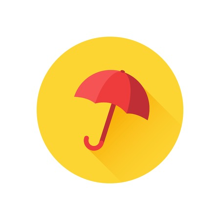 Vector icon of red umbrella on yellow background. Rain protection symbol. Trendy flat design style with long shadow. Vector element for web design and infographics 矢量图像