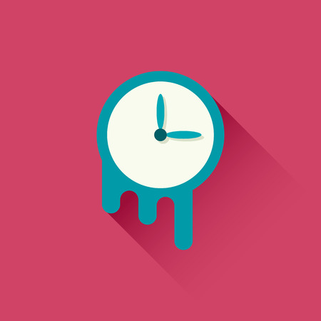 countdown clock: Melting clock icon. Symbol of time. Vector illustration. Flat design with long shadow Illustration