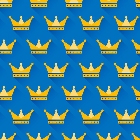 Vector crown seamless pattern with golden crowns on blue background. Symbol of power and success. Trendy flat design style with long shadow. Vector element for web design and infographics