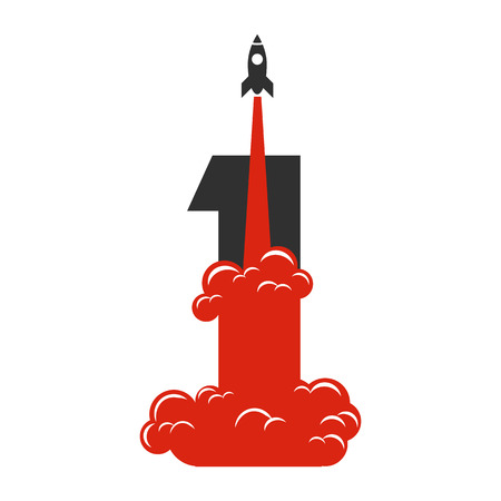 an achievement: Flat design vector illustration of success and victory. Rocket launch and number one as background. Achieving the goal, winning strategy with focus on results. Icon for web design and applications