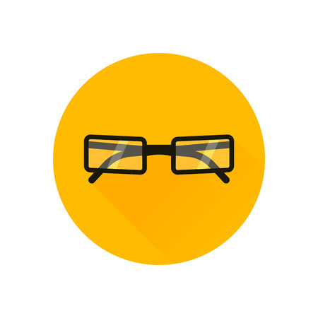 corrective: Glasses Icon. Vector illustration. Elements for design. Glasses Icon on yellow background Illustration