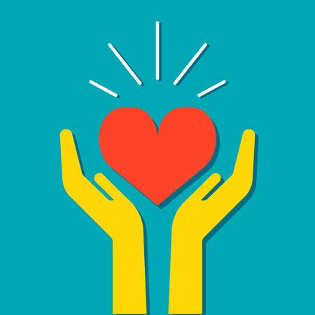 Corazón en manos icono, vector ilustración médica. Estilo Diseño plano. Para el diseño web y aplicaciones.