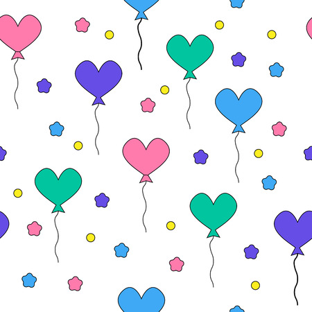 Seamless pattern with flying heart-shaped balloons. Design element. Illustration can be used as a print fabric, wrapping paper, screen saver for web site, for design of cards, frames etc Vector