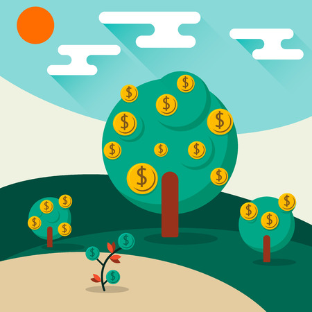 growing money: A conceptual illustration of a trees growing money in the form of dollar coins. Concept for profit or economic growth, earning interest or similar growing your money type theme.