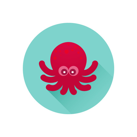 sealife: Vector octopus icon. Red octopus on bluish-green background. Trendy flat design style with long shadow. Vector element for web design and infographics . For web and print design