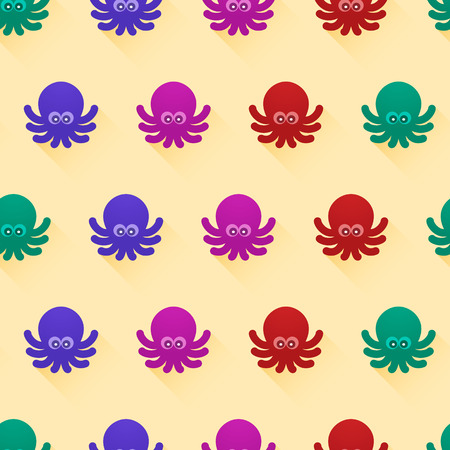 octopus: Vector seamless pattern with color octopuses. Cute octopuses have fun