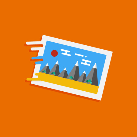 framed picture: Framed picture icon. Flat design style. Vector Illustration for web and mobile applications Illustration