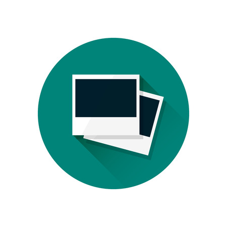 Blank retro polaroid photo frame illustration. Empty photo frames on green background. Modern flat design icon with long shadow effect in stylish colors. Icons for Web design and Mobile Application