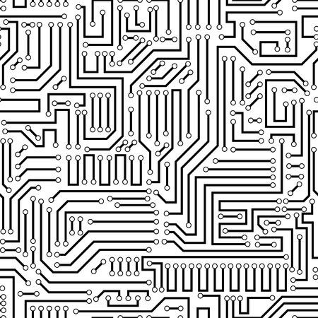 Obwód drukowany tekstury tła. Bez szwu czarno-biały talerz elektronicznej wektora wzór. Płyta obwodu ilustracji wektorowych. Futurystyczny tle. Schemat elektryczny. Technologia bezszwowe tło z wzorem w swatches
