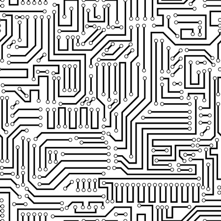 Printed circuit texture background. Seamless black and white electronic plate pattern vector. Circuit board vector illustration. Futuristic background. Electrical scheme. Technology seamless background with pattern in swatches