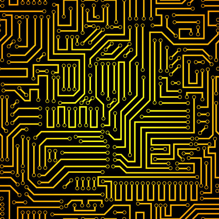 electronic scheme: Printed circuit texture background. Seamless black and gold electronic plate pattern vector. Circuit board vector illustration. Futuristic background. Electrical scheme. Technology seamless background with pattern in swatches