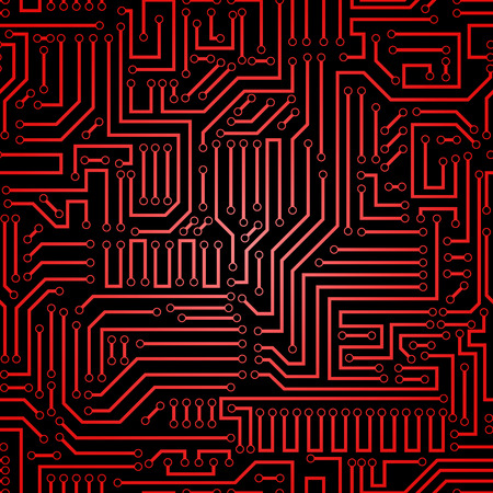 Printed circuit texture background. Seamless red and black electronic plate pattern vector. Circuit board vector illustration. Futuristic background. Electrical scheme. Technology seamless background with pattern in swatches 矢量图像