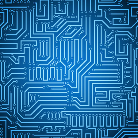 Printed circuit texture background. Seamless blue and dark blue electronic plate pattern vector. Circuit board vector illustration. Futuristic background. Electrical scheme. Technology seamless background with pattern in swatches