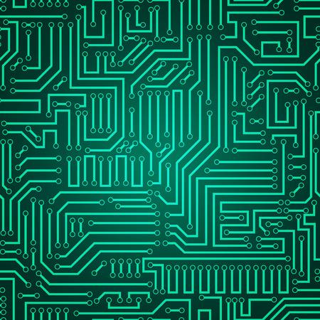 プリント回路テクスチャ背景。シームレスな緑と濃い緑電子プレート パターン ベクトル。回路基板のベクトルの図。未来的な背景。電気方式です。
