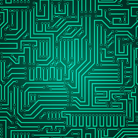 Printed circuit texture background. Seamless green and dark green electronic plate pattern vector. Circuit board vector illustration. Futuristic background. Electrical scheme. Technology seamless background with pattern in swatches