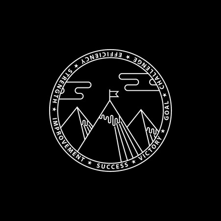 Flat outline modern illustration of success. Mountains with flag. Illustration of a victory and goal achievement.White vector logo on black background