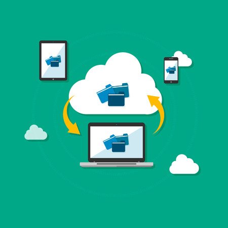 Cloud computing concept. Various devices like Smartphone, Tablet Computer, Laptop are connected to Cloud. Vector illustration. Flat design style. For web design and apps Vector