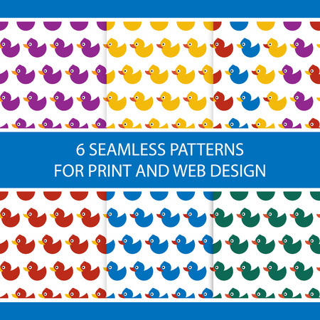 Seamless vector pattern with colorful baby ducks. For cards, invitations, wedding or baby shower albums, backgrounds, arts and scrapbooks, for web and print design