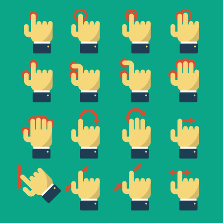 Set of icons with gestures for touch screen and multi touch devices. Pointer and hand, laptop and move. Vector illustration flat design style. For web design and apps