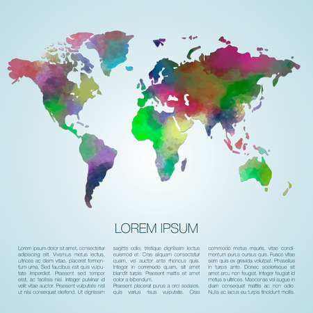 World vector map painted with watercolors. Web and mobile template. Corporate design web site. Atlas world map silhouette