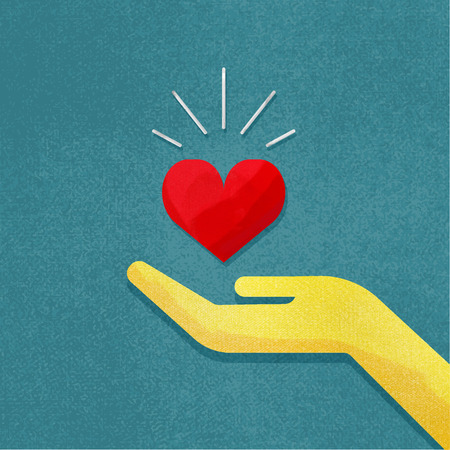 Vector illustration of human hand with red heart in it. Hand holding heart with rays of light. Grunge canvas background. Vintage illustration. Mothers day or Valentine's day background. For web design and applications. Ilustração