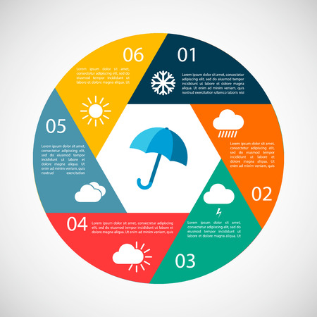 weather report: Weather infographics. Design elements for climate and temperature report. Vector illustration in vintage colors