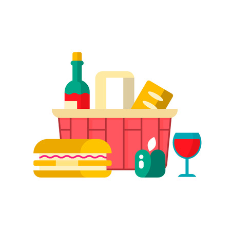 Shopping basket with groceries  - bottle of wine, bread, fruit and sanwich. Vector illustration. Flat design. Vector element for web design, apps and infographics