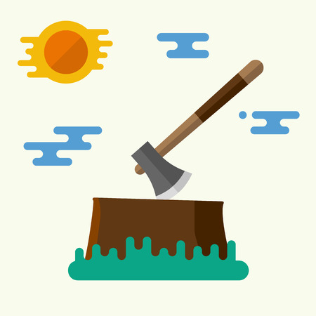sliver: Brown stump with axe. Vector illustration. Flat design. For web and applications