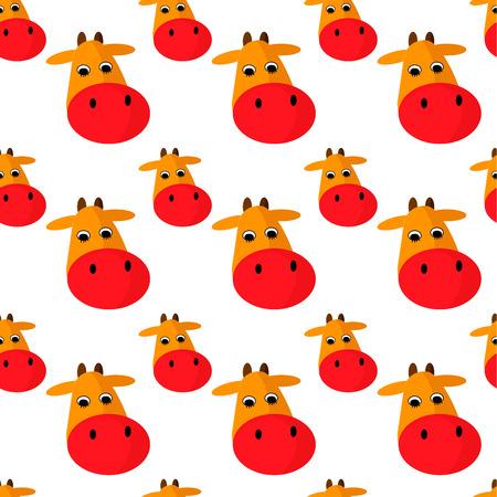 Cow head vector cartoon style. Seamless pattern. Ilustração