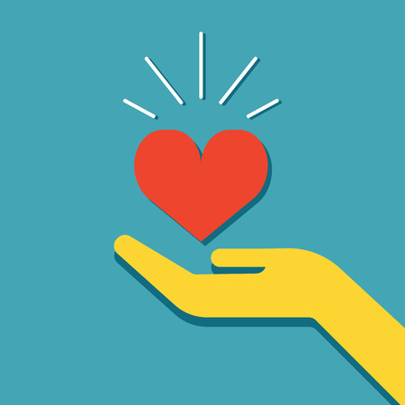 Heart in hand. Illustration of kindness and charity. Vector icon - hand holding heart. For web design and applications Çizim