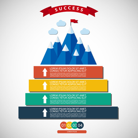 Infographic vector illustration of success and victory. Winning strategy. Achieving the goal, winning strategy with focus on results.  Can be used for infographics, web or advertise layout vector