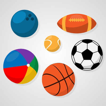 Set of sport balls on white background soccer or football, basketball, rugby, tennis, bowling, beach ball. Healthy recreation, leisure. Activities for team and individual playing Vector illustration
