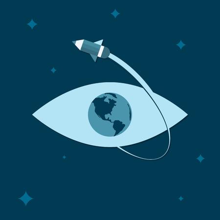 Elearning concept. On-line learning or schooling. Pencil-rocket flying around eye-globe. Vector illustration. For web design and applications. Trendy flat design style Ilustração