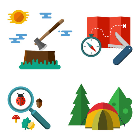 temperino: Illustrazione di attrezzature da campeggio isolato su sfondo bianco. Set di vettore colorate illustrazioni escursionistici - tenda bussola mappa temperino ascia albero lente di ingrandimento coccinella ghianda e foglia in stile piatto Vettoriali