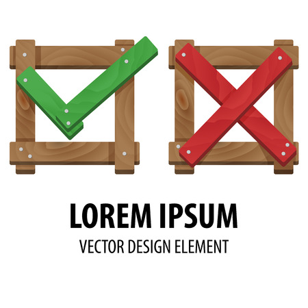 cross mark: Yes or No icons. Wrong and right check marks made of wood. Check and cross mark. Vector illustration of positive and negative feedback concept. For web design and apps.