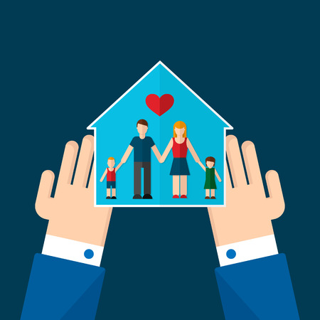 Vector illustration du concept de la sécurité de la maison et de la famille. Contient des symboles de la maison ou de la résidence et les parents avec enfants. Concept de l'assurance. Pour le web et les applications. Style design plat Trendy